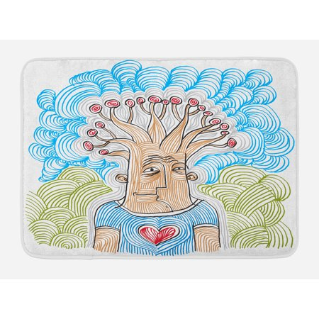 Tree Of Life Symbols (Tree of Life Bath Mat, Weird Hand Drawn Picture of Man as Nature Symbol with Wavy Patterns for Planet, Non-Slip Plush Mat Bathroom Kitchen Laundry Room Decor, 29.5 X 17.5 Inches, Multicolor, Ambesonne )