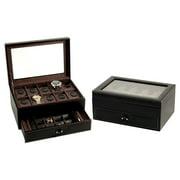 Bey - Berk Black Leather 10 Watch Box with Cufflink & Pen Storage