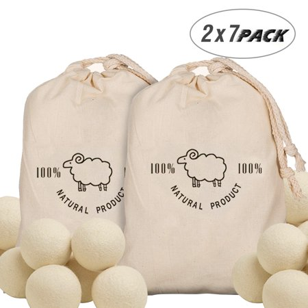 2X7 Pack Natural Fabric Softener Wool Dryer Balls 100% Organic Reusable Dryer Balls](Wooly Balls)