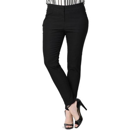 Rose Waistband - TheMogan Women's Plus Wide Waistband Mid Rise Stretch Slim Fit Trouser Pants