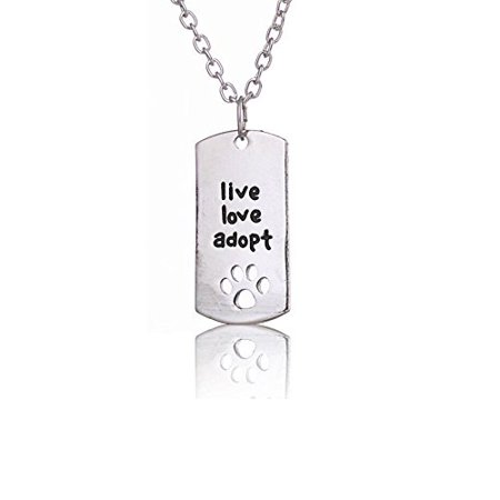 Art Attack Silvertone Live Love Adopt A Dog Best Friend BFF Cat Shelter Save A Life Pendant