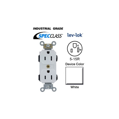 Leviton M5262 SW 5 15R Lev Lok Narrow Body Duplex Receptacle Fed Spec