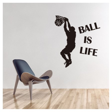 Ball Is Life Sport Playing Basketball Wall Decals Removable DIY Wall Stickers for Boys Bedroom Living Room Wallpaper Home Decor