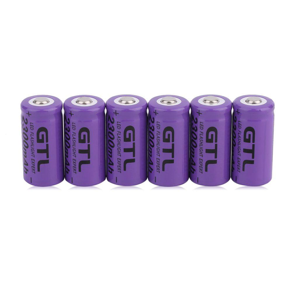 6 Pcs 3.7V CR123A 16340 2300mAh Purple Li-Ion Rechargeable Battery Cell