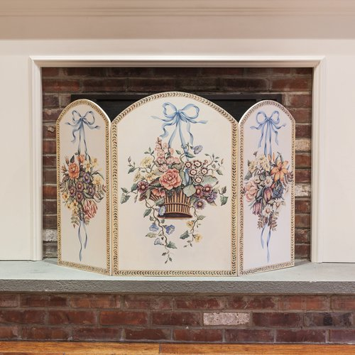 Stupell Industries Hanging Basket 3 Panel Fireplace Screen