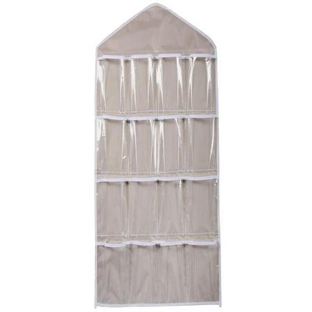 OkrayDirect 16Pockets Clear Hanging Bag Socks Bra Underwear Rack Hanger Storage Organizer BG ()