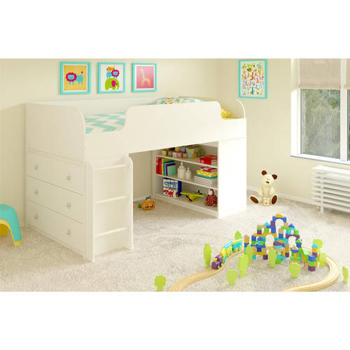 Cosco Elements Twin Wood Loft Bed with 3-Shelf Bookcase & 3-Drawer Dresser, White Stipple