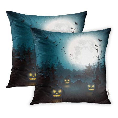 ARHOME Blue Spooky Scary Graveyard in The Woods Halloween Horror Night Dark Tree Party Pillowcase Cushion Cover 20x20 inch, Set of - Halloween Horror Nights App