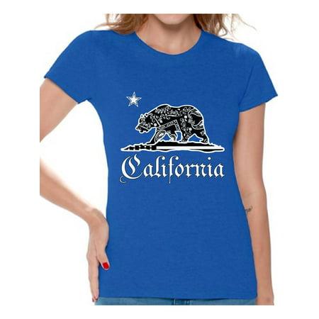 Awkward Styles California Republic Bandana Tshirt California Shirts for Women California Bear T Shirt Cali Gifts Cali T-Shirt Gifts from California (Bandana Womens Tee)