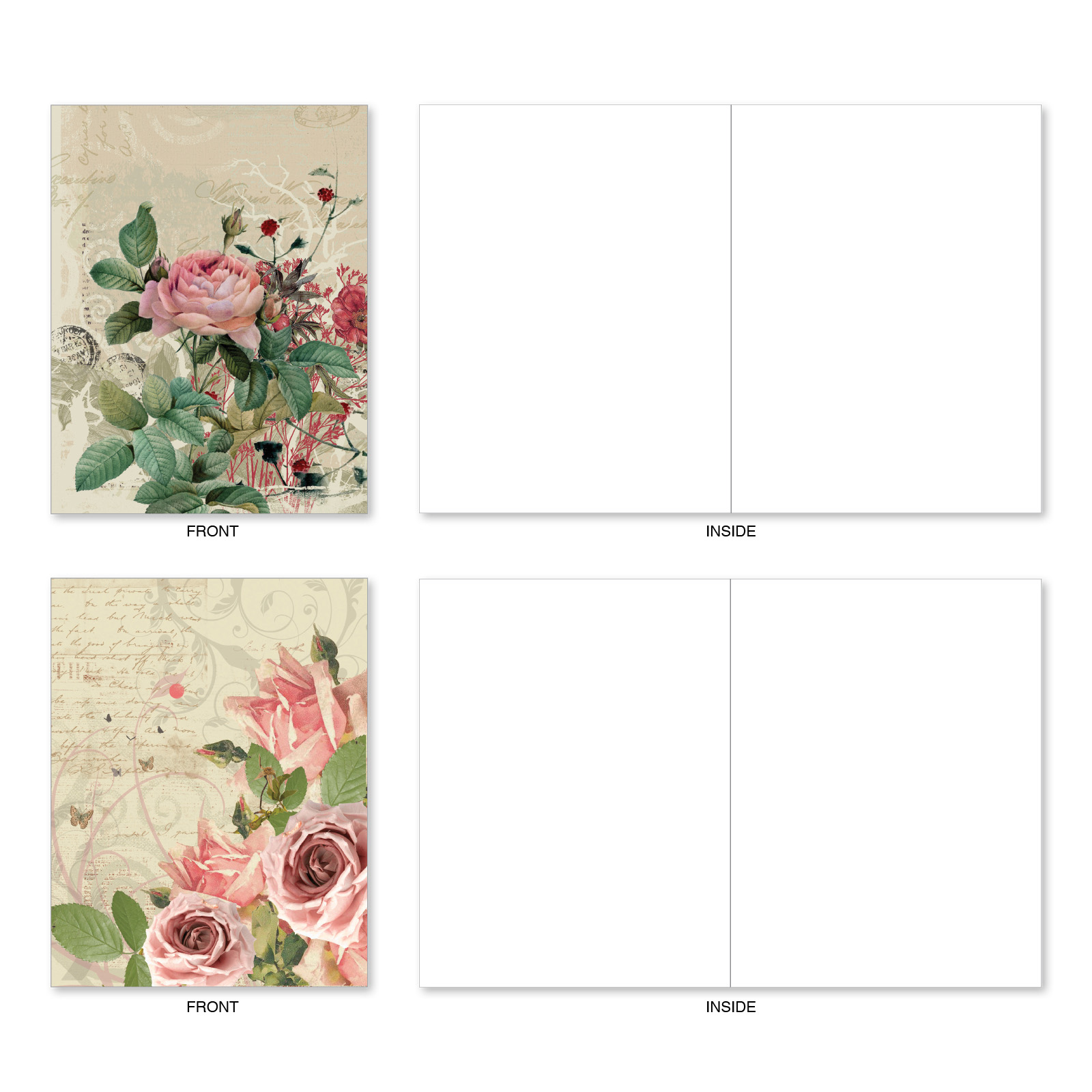 Beautiful Blossoms 10 Boxed Floral Blueprints All Occasion Greeting Cards Set of Assorted Square-Top Flower Notes Floral Stationery Notecards w// Envelopes 4 x 5.12 inch AMQ5650OCB-B1x10