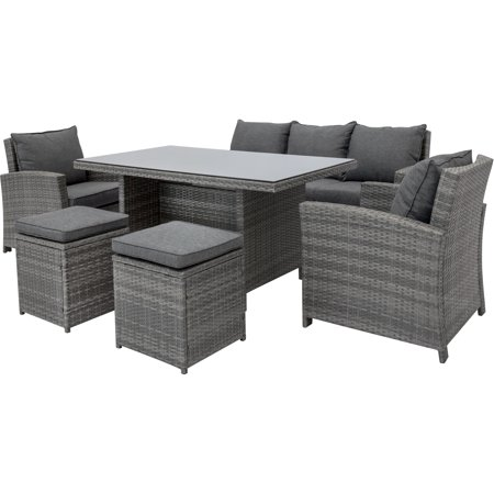 Best Choice Products 6-Piece Modular Patio Wicker Dining Sofa Set, Weather-Resistant Outdoor Living Furniture w/ 7 Seats, Cushions - Gray
