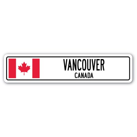 VANCOUVER, CANADA Street Sign Canadian flag city country road wall gift