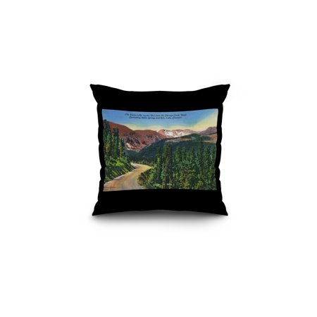 Colorado - Chicago Creek Road View of Mount Evans, near Idaho Springs and Echo Lake (16x16 Spun Polyester Pillow, Black Border) ()