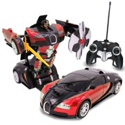 Kids RC Toy Car Transforming Robot Remote Control One Button Transformation, Realistic Engine Sounds, 360° Speed Drifting, Sword And Shield Included Toys For Boys 1:22 Scale Red
