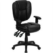 Flash Furniture Mid-Back Black LeatherSoft Multifunction Swivel Ergonomic Task Office Chair with Pillow Top Cushioning and Arms