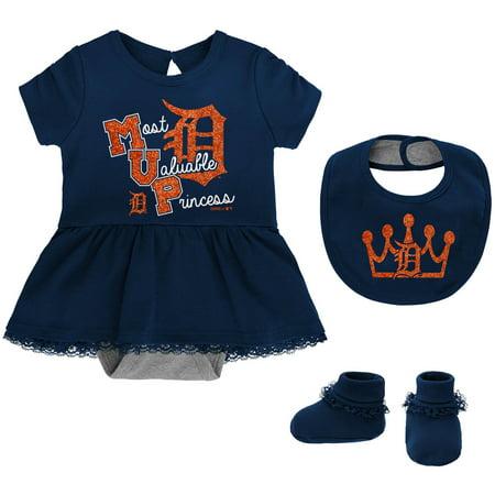 Detroit Tigers Girls Newborn & Infant Diamond Bodysuit, Bib & Booties Set - - Girls Diamond Set