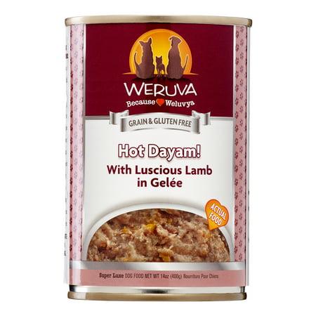 Weruva Human Style Grain-Free Hot Dayam! with luscious Lamb in Gelee Wet Dog Food, 14 Oz, 12