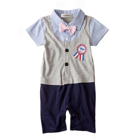 StylesILove Baby Plaid Award Badge Tuxedo Baby Romper (6-12 Months, Grey)
