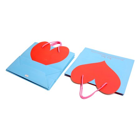 Shopping Mall Heart Shaped Pattern Foldable Holder Tote Gift Bags Blue 4 PCS - image 1 de 3