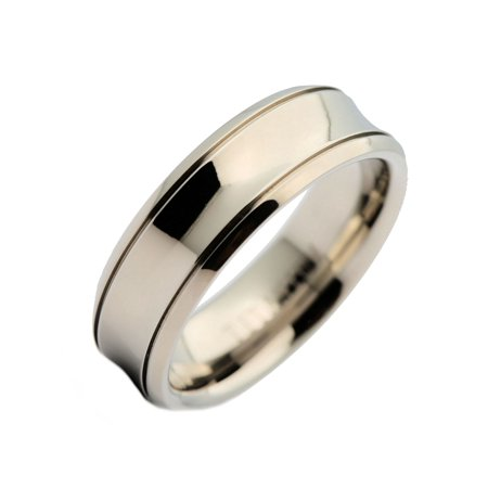 7mm Titanium Concaved Center Grooved Edge Wedding Ring Comfort Fit -