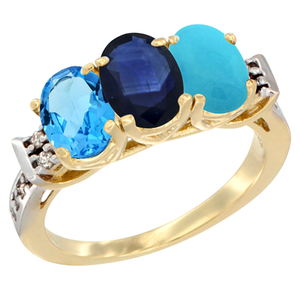 14K Yellow Gold Natural Swiss Blue Topaz, Blue Sapphire & Turquoise Ring 3-Stone 7x5 mm Oval Diamond Accent, sizes 5 - 10