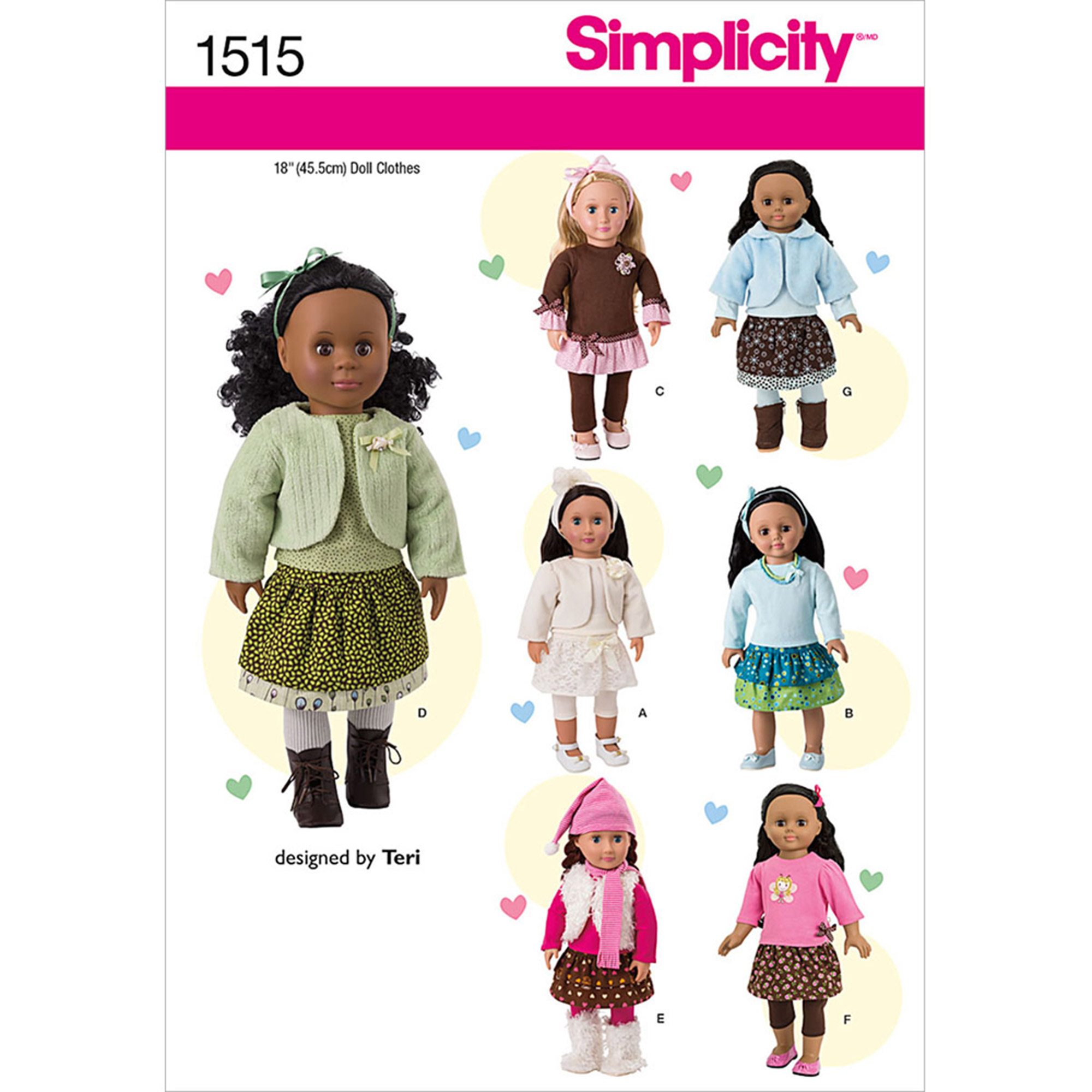 Simplicity Patterns Crafts Doll Clothes, One Size
