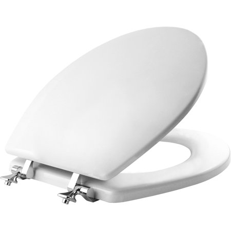 Mayfair Round Enameled Wood Toilet Seat in White with Chrome Hinge and STA-TITE Round Toilet Seat