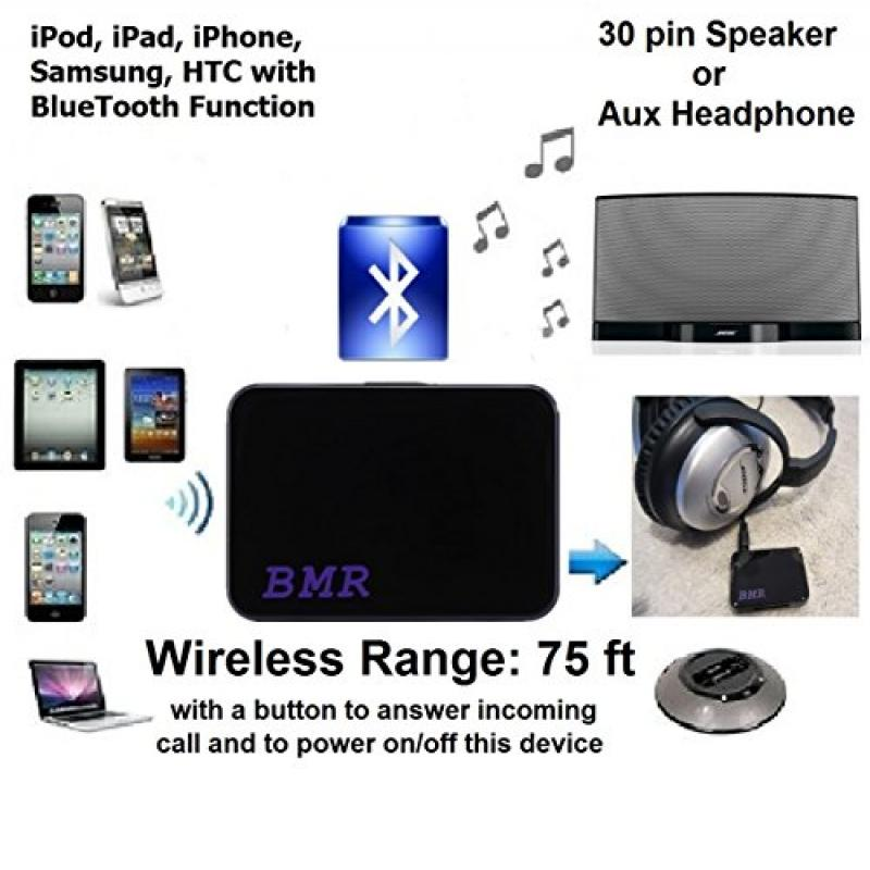 BMR A2DP 2in1 iPhone 7 Bluetooth Music Receiver Adapter F...