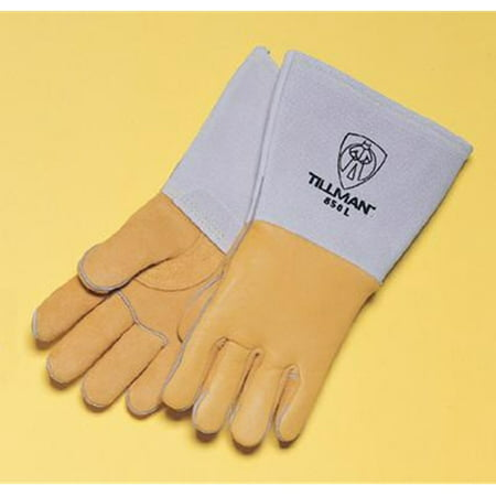 Tillman Small 14'' Gold Top Grain Elkskin Cotton/Foam Lined Super Premium Grade Stick Welders Gloves With Reinforced Straight Thumb, Stiff Cowhide Cuff, Welted Finger, Kevlar Lock Stitching And Pul