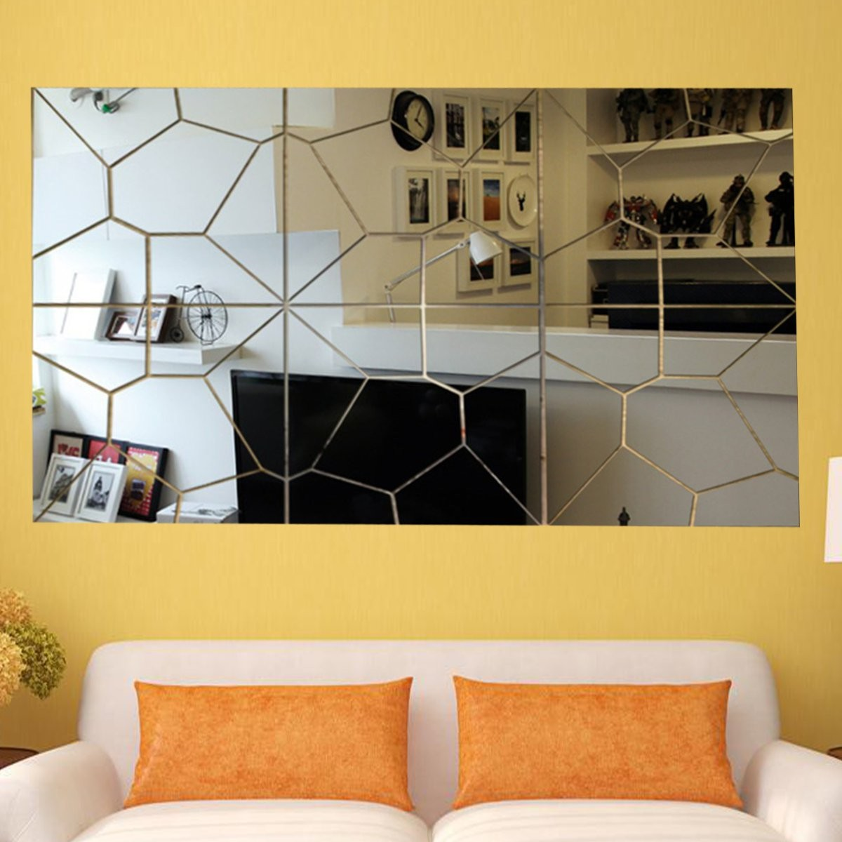 7pcs 3D Mirror Irregular Wall Sticker Decal DIY Home Room Art Mural Decor Removable