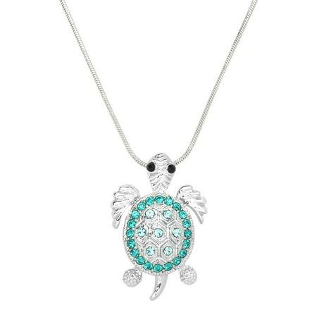 Turtle Pendant Necklace Rhinestone Crystal Rhodium High Polished J0236-BZ