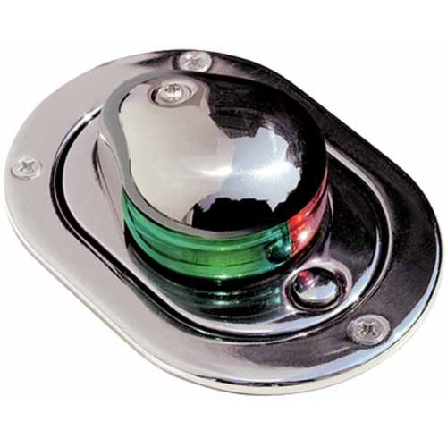 Aqua Signal 24600 Series 24 12V Navigation Light with Tell-Tale Indicator, Bi-Color Hideaway Deck Mount, Stainless Steel