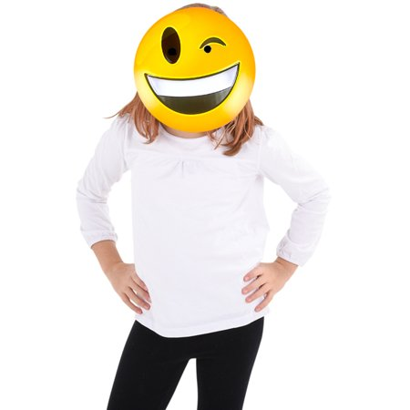 Texting Emoticon Emoji Winking Laugh Face Mask Costume Accessory (Skype Emoticons Halloween)