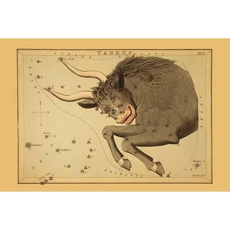 Astronomical chart showing the bull Taurus forming the constellation also shows the Pleiades Poster Print by Aspin Jehosaphat