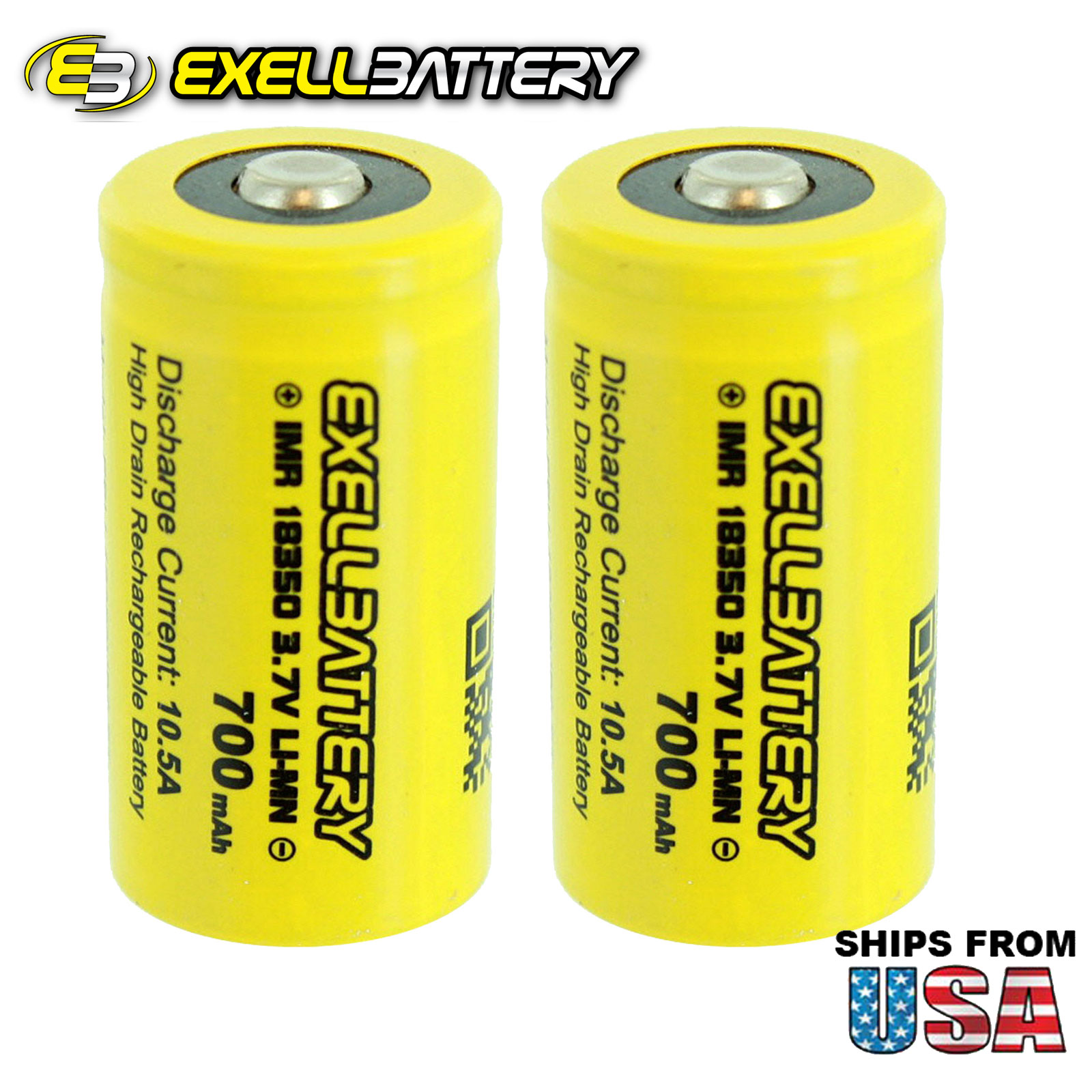 2pc IMR 18350 LiMN 700mAh 10.5AMP Rechargeable Button Top Battery USA SHIPPING