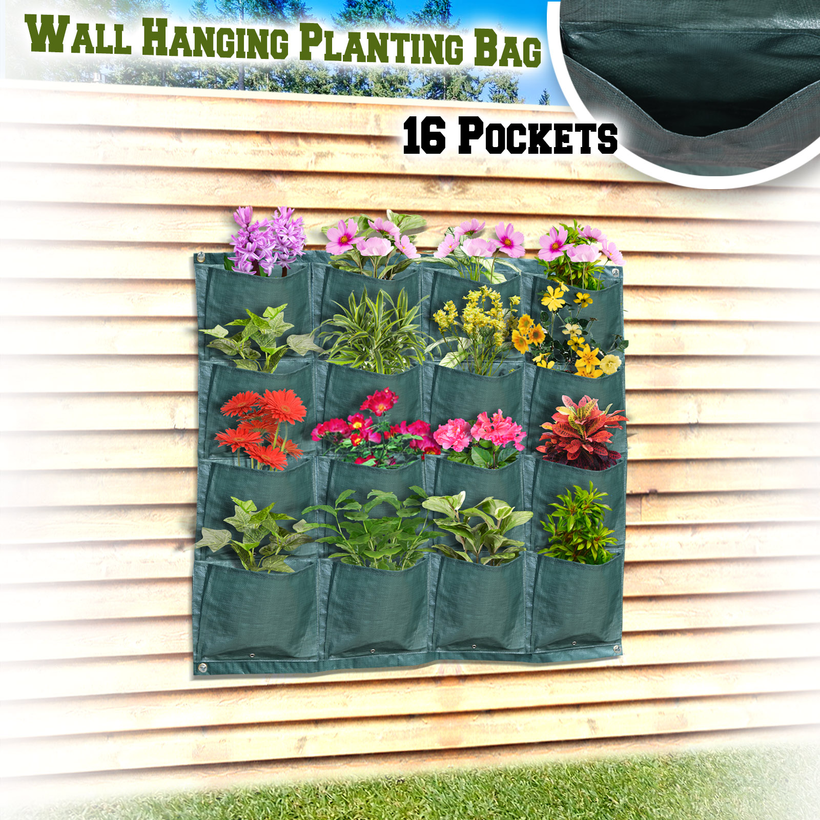 Strong Camel Wall Pocket Planter 16 Pocket Vertical Hanging Planting Grow Bag Indoor Outdoor (1pcs)