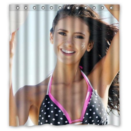 Deyou The Vampire Diaries Sexy Nina Dobrev Shower Curtain Polyester Fabric Bathroom Shower Curtain Size 60X72 Inch