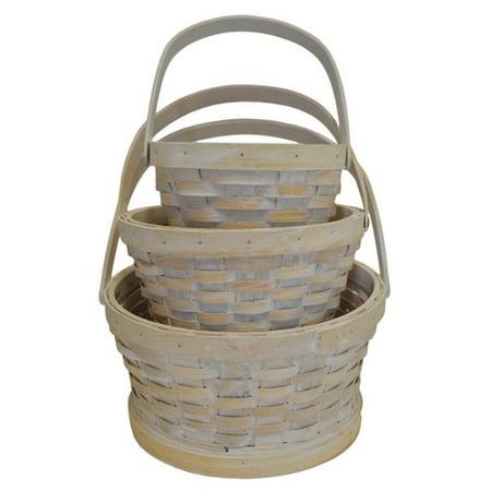 Craftware Round Woodchip Nesting Baskets - Set of 3