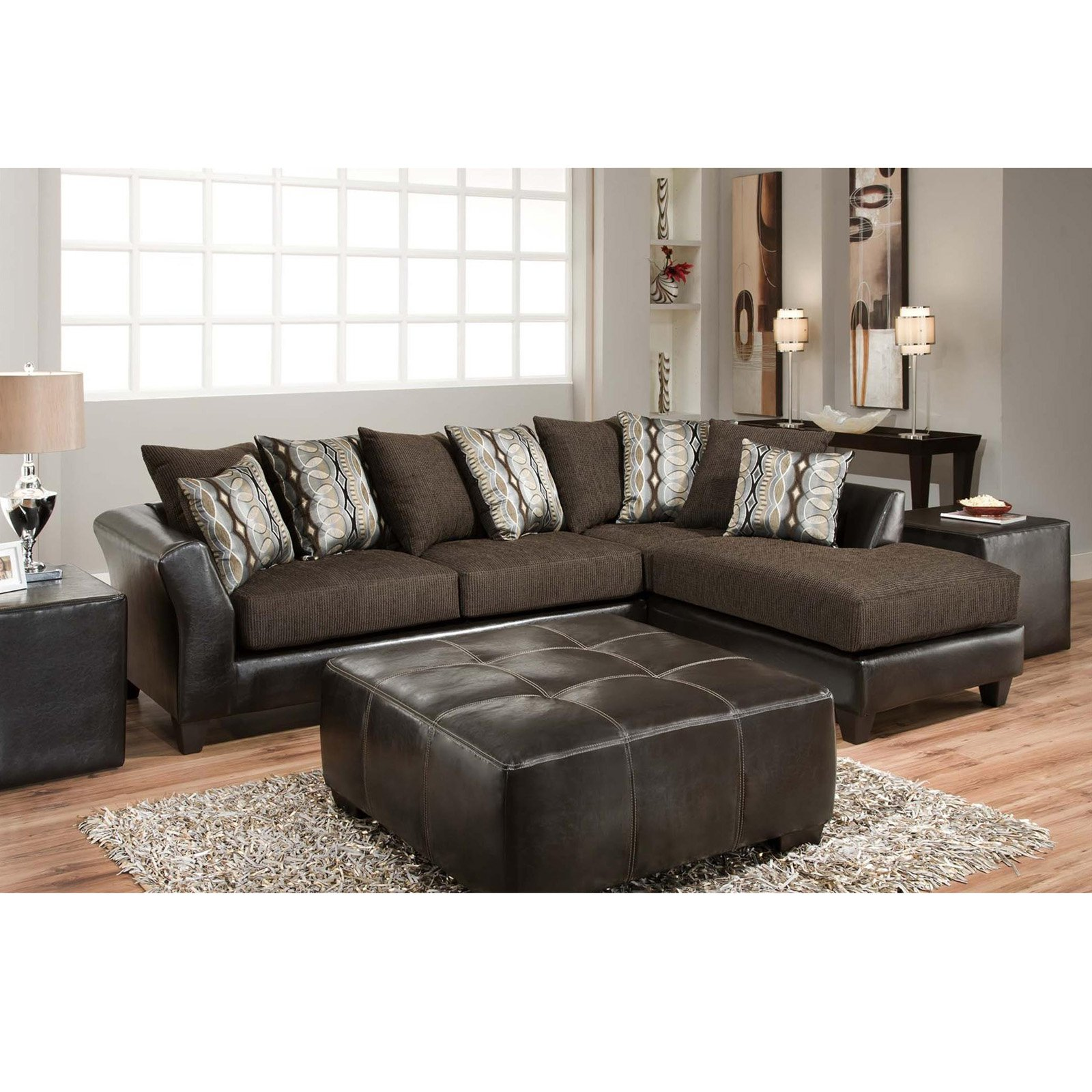 Flash Furniture Riverstone Rip Sable Chenille Sectional Sofa