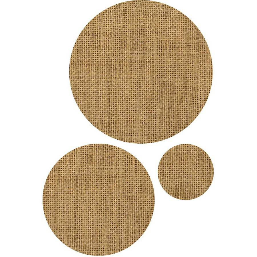Burlap Laminated Shapes, Natural Circles, 3 Packs