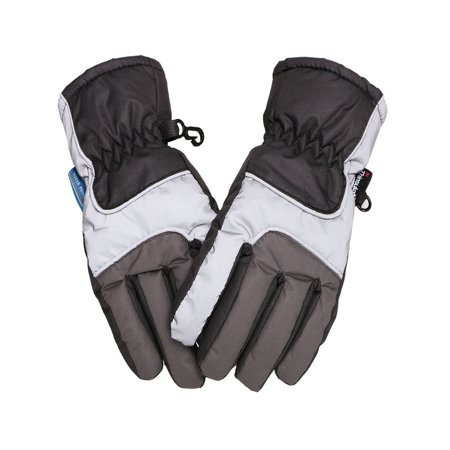 Kids Teenagers Thinsulate Lined and Waterproof Ski Glove, Blue Grey, L](Michael Jackson Kids Glove)