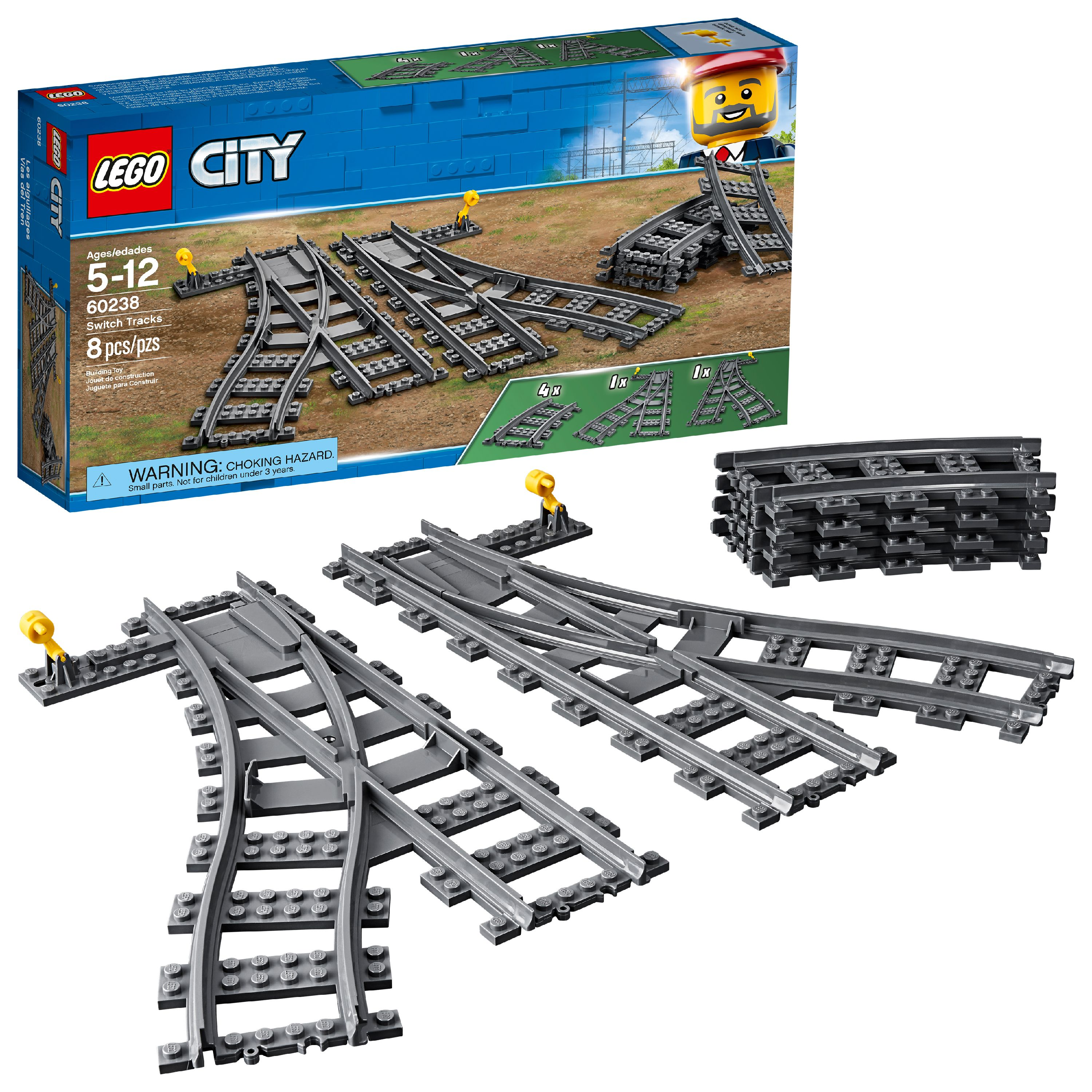 LEGO City Switch Tracks 60238 Building Accessory (8 Pieces)