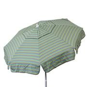 DestinationGear 6' Beach Umbrella Tri-Color Stripe Sea Blue, Taupe & Olive