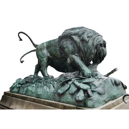 Framed Art for Your Wall Statue Lion Metal Paris Sculpture Animal 10x13 Frame ()
