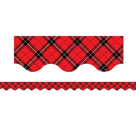 RED PLAID SCALLOPED BORDER