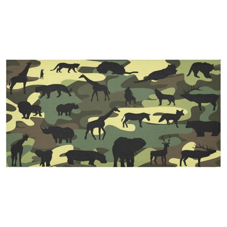 MYPOP Animal Print Camouflage Cotton Linen Tablecloth Sets 60x120 Inches - Deer Giraffe Party Desk Sofa Table Cloth Cover for Party Decor](Camouflage Tablecloths)