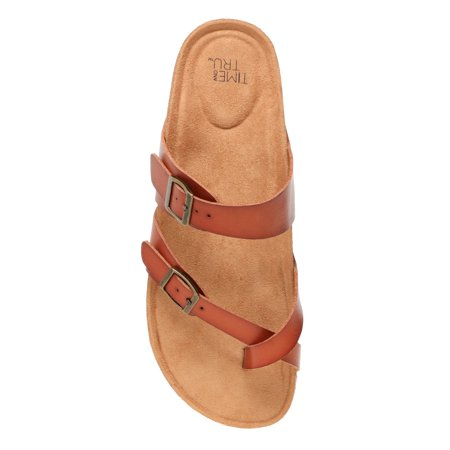 Women's Time and Tru Footbed Thong Slide Sandal