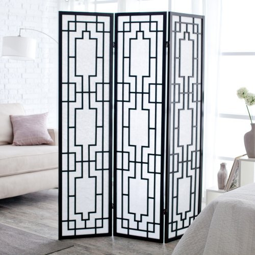 Sado Black Shoji 3 Panel Room Divider