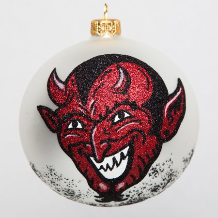 The Devil Face with Pitchforks Polish Glass Ball Halloween Tree Ornament - Pitchfork Halloween Paris