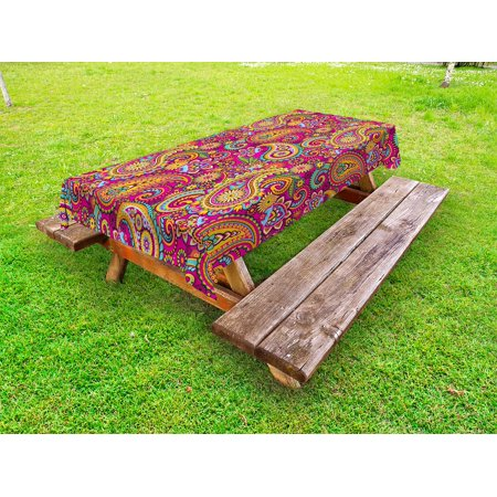 Paisley Outdoor Tablecloth, Fancy Authentic Paisley Patterns Based on Traditional Asian Eastern Cultural Design, Decorative Washable Fabric Picnic Table Cloth, 58 X 84 Inches,Multicolor, by Ambesonne